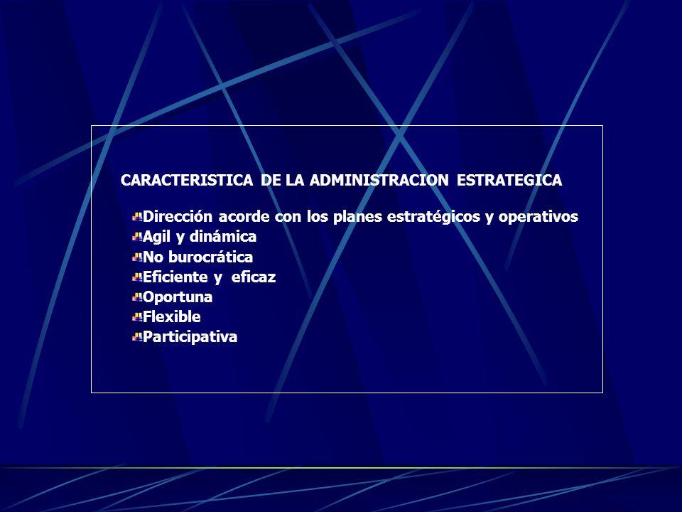 ADMINISTRACION ESTRATEGICA La administración estratégica es el proceso administrativo que entraña que la organización prepare planes estratégicos y de