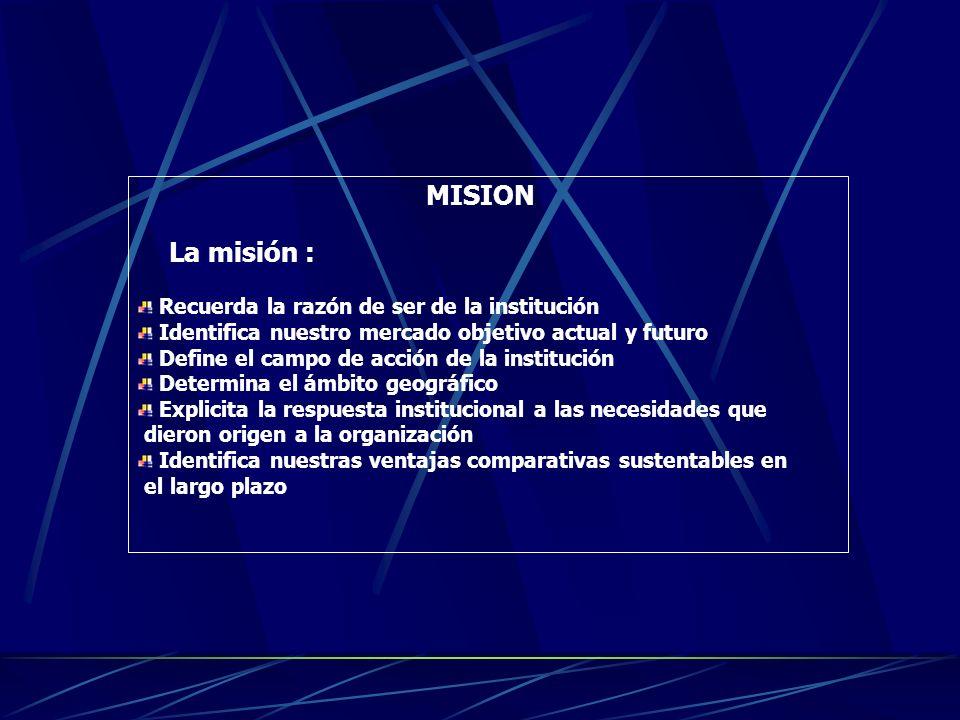 MISIONMISION La misión es una descripción breve de la razón de ser de la organización