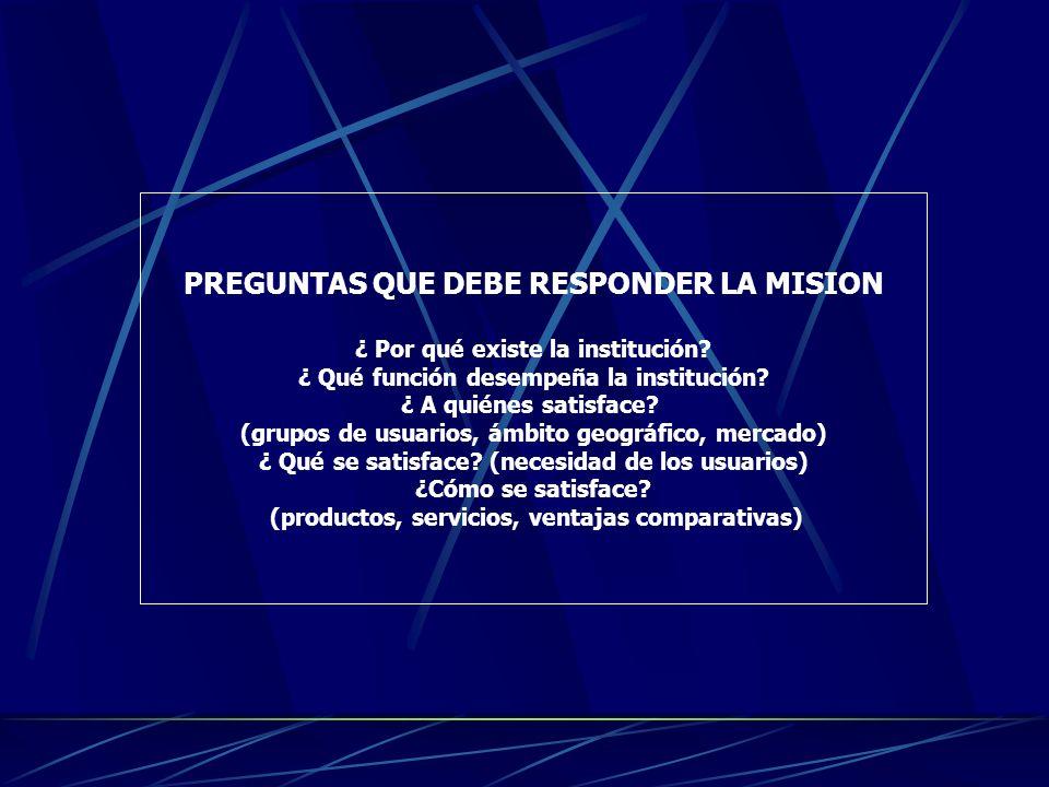 CARACTERISTICAS DE LA MISION La misión debe ser: Clara y concisa Ser atemporal Contemplar el accionar actual y futuro de la institución Ser fácil de c
