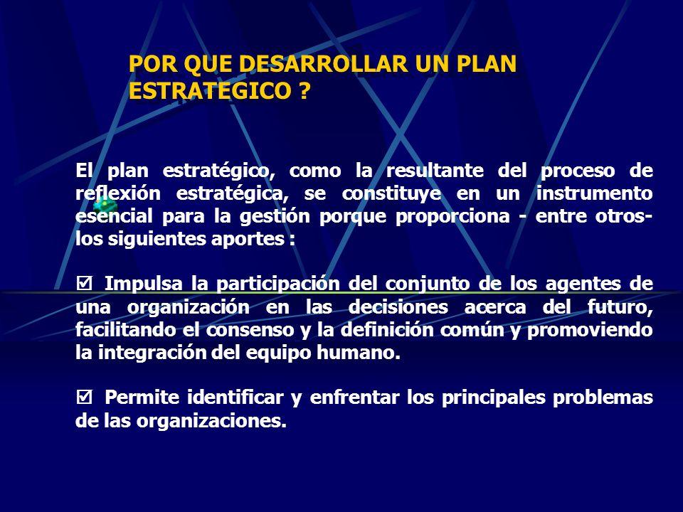 PLANIFICACION ESTRATEGICA La planificación estratégica es un proceso que facilita la formulación de ideas rectoras de la institución; visión, valores