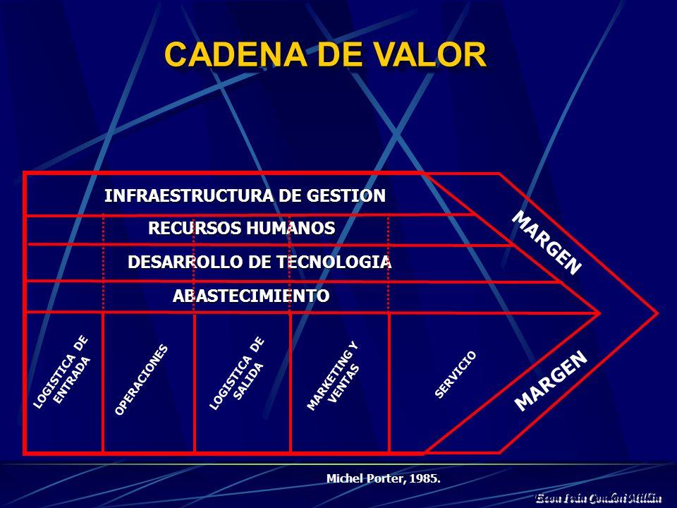 SISTEMA DE VALOR La cadena de valor de una institución debe verse como una parte importante del llamado sistema de valor de Michel Porter. Este sistem