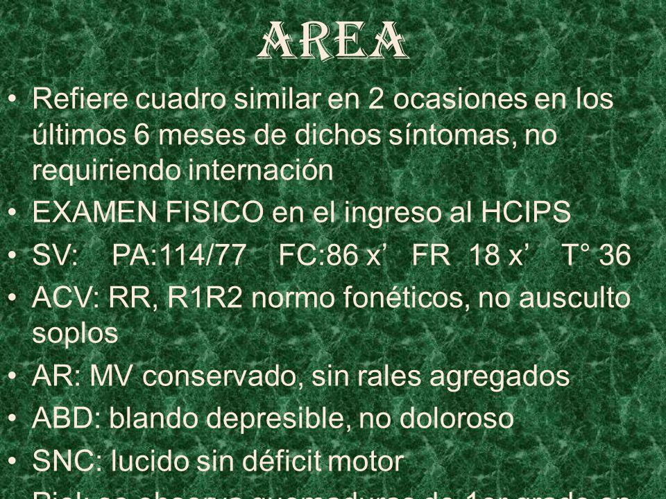 AREA Refiere cuadro similar en 2 ocasiones en los últimos 6 meses de dichos síntomas, no requiriendo internación EXAMEN FISICO en el ingreso al HCIPS SV: PA:114/77 FC:86 x FR 18 x T° 36 ACV: RR, R1R2 normo fonéticos, no ausculto soplos AR: MV conservado, sin rales agregados ABD: blando depresible, no doloroso SNC: lucido sin déficit motor Piel: se observa quemaduras de 1er grado en abdomen y testiculo y 2do grado en muslo derecho cara interna