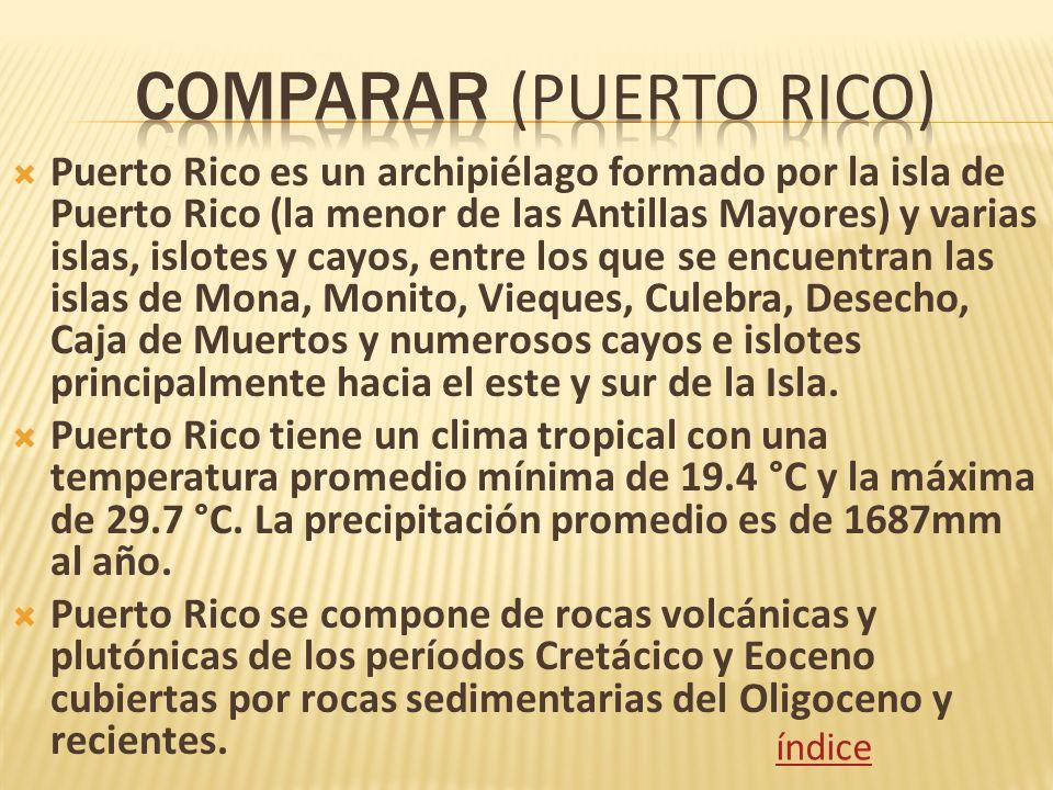 Puerto Rico es un archipiélago formado por la isla de Puerto Rico (la menor de las Antillas Mayores) y varias islas, islotes y cayos, entre los que se