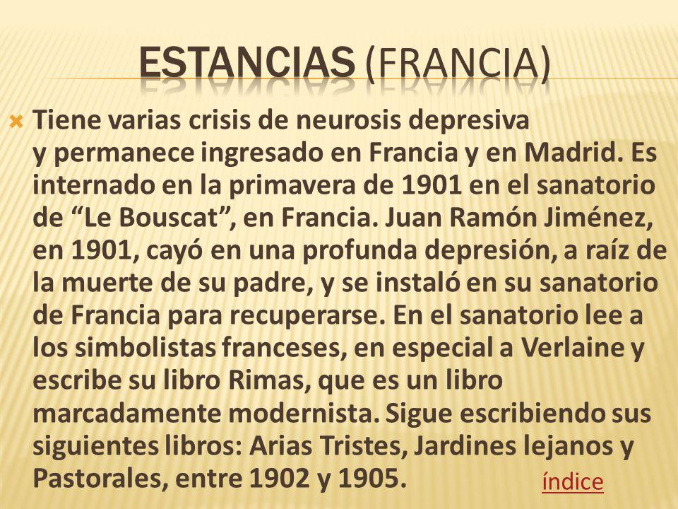 Tiene varias crisis de neurosis depresiva y permanece ingresado en Francia y en Madrid. Es internado en la primavera de 1901 en el sanatorio de Le Bou