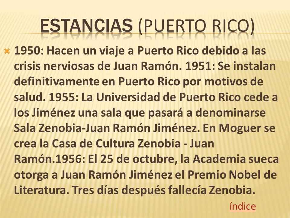 1950: Hacen un viaje a Puerto Rico debido a las crisis nerviosas de Juan Ramón. 1951: Se instalan definitivamente en Puerto Rico por motivos de salud.