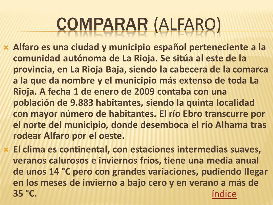Alfaro es una ciudad y municipio español perteneciente a la comunidad autónoma de La Rioja. Se sitúa al este de la provincia, en La Rioja Baja, siendo