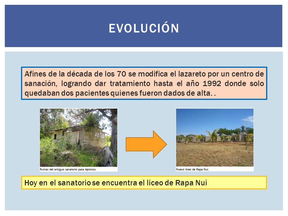 EVOLUCIÓN Afines de la década de los 70 se modifica el lazareto por un centro de sanación, logrando dar tratamiento hasta el año 1992 donde solo queda