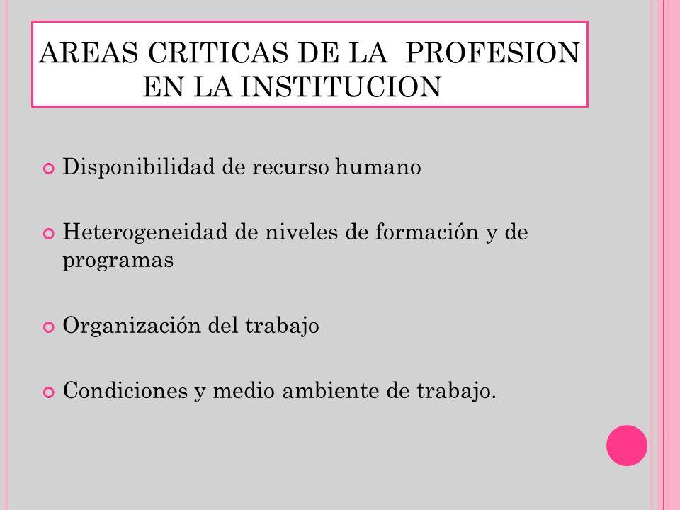 AREAS CRITICAS DE LA PROFESION EN LA INSTITUCION Disponibilidad de recurso humano Heterogeneidad de niveles de formación y de programas Organización d