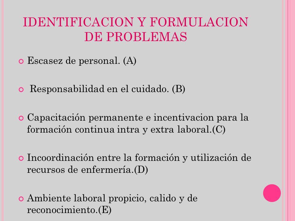 IDENTIFICACION Y FORMULACION DE PROBLEMAS Escasez de personal. (A) Responsabilidad en el cuidado. (B) Capacitación permanente e incentivacion para la