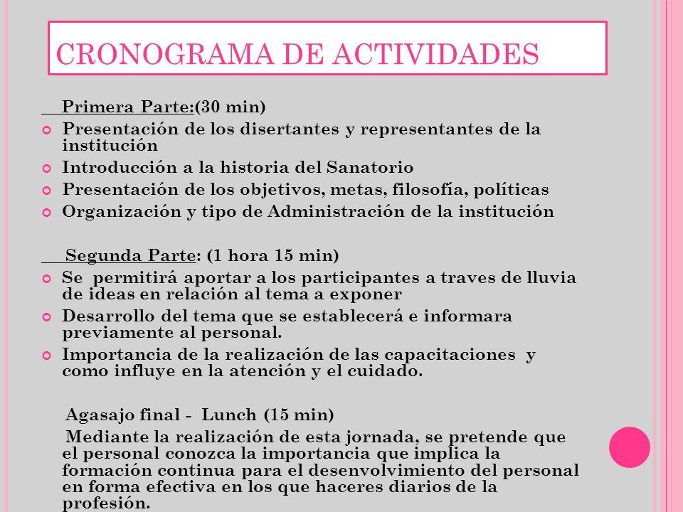 CRONOGRAMA DE ACTIVIDADES Primera Parte:(30 min) Presentación de los disertantes y representantes de la institución Introducción a la historia del San