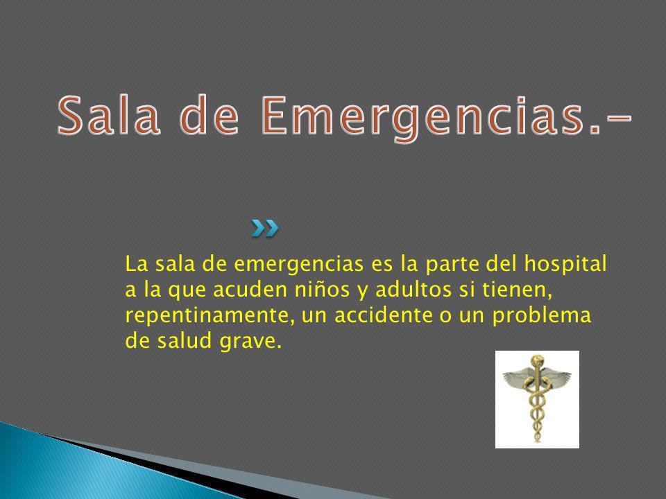 La sala de emergencias es la parte del hospital a la que acuden niños y adultos si tienen, repentinamente, un accidente o un problema de salud grave.