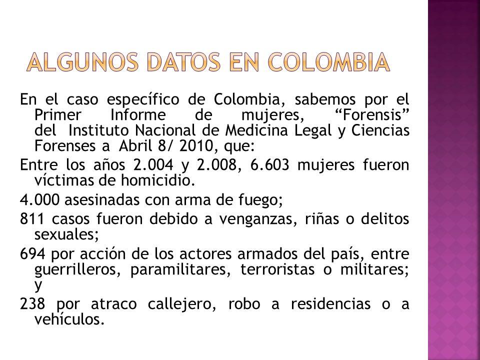 En el caso específico de Colombia, sabemos por el Primer Informe de mujeres, Forensis del Instituto Nacional de Medicina Legal y Ciencias Forenses a A