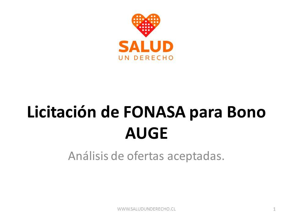 Licitación de FONASA para Bono AUGE Análisis de ofertas aceptadas. 1WWW.SALUDUNDERECHO.CL