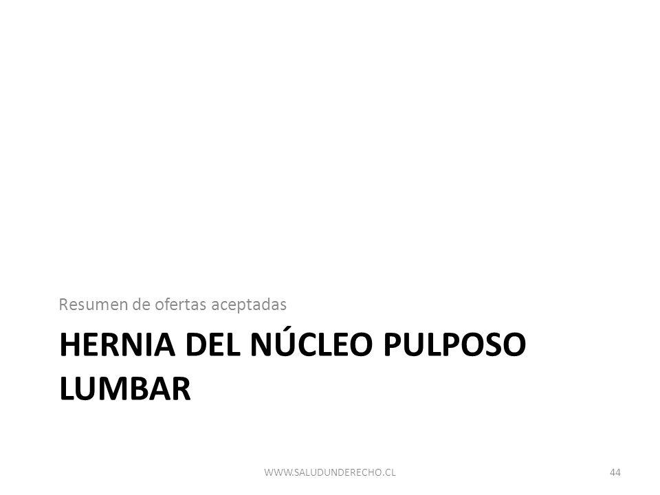 HERNIA DEL NÚCLEO PULPOSO LUMBAR Resumen de ofertas aceptadas 44WWW.SALUDUNDERECHO.CL