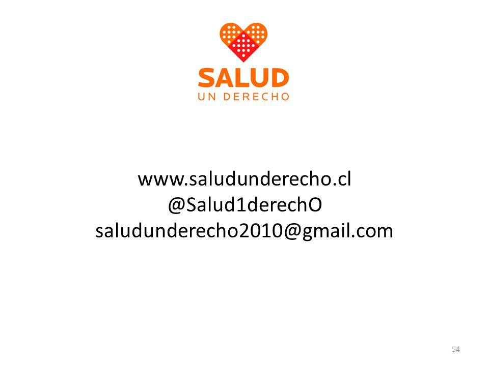 www.saludunderecho.cl @Salud1derechO saludunderecho2010@gmail.com 54
