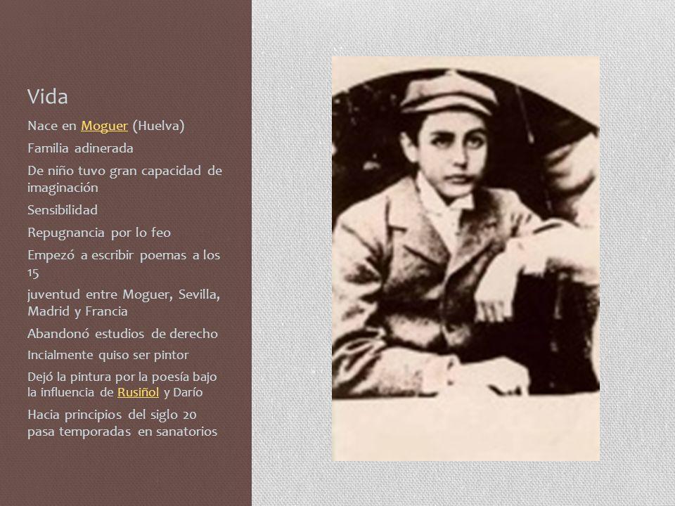 Vida En 1911 conoce a Zenobia Camprubí Se casan en Nueva York en 1916 Regresan a Madrid Trabajo constante Apartado del mundo En 1936 vino a EEUU como embajador cultural Al terminar la guerra vivieron en Cuba, EEUU y por fin Puerto Rico En 1956 le otorgaron el Premio Nóbel