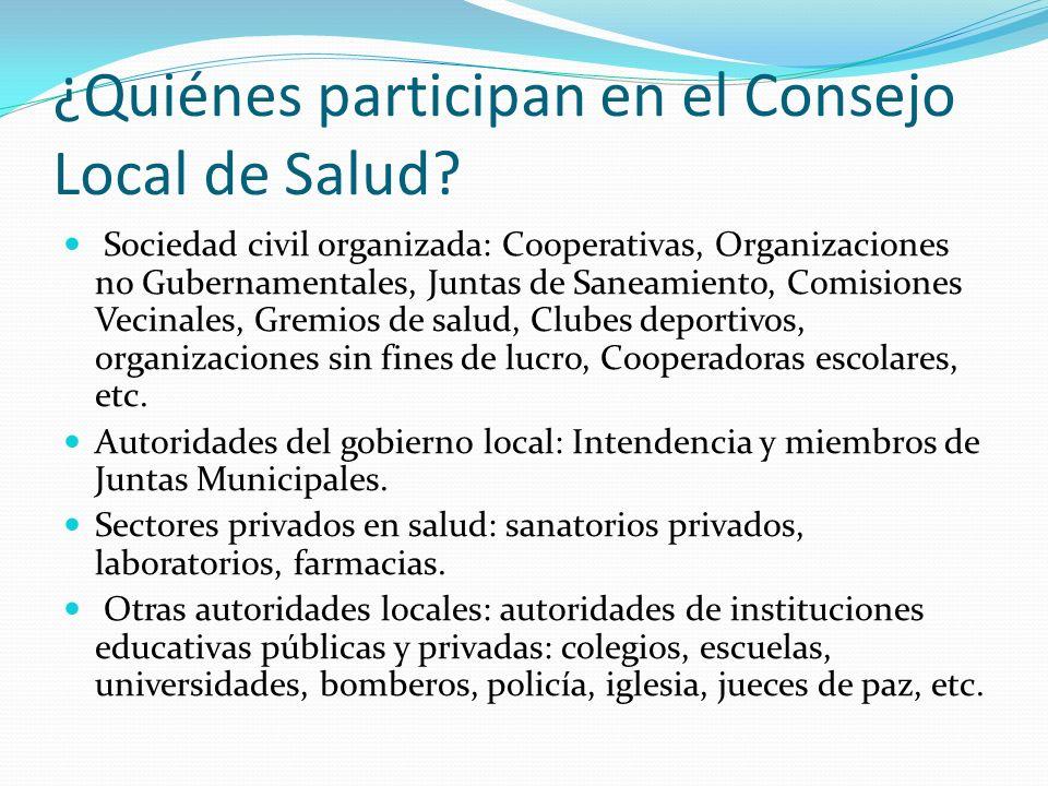 ¿Quiénes participan en el Consejo Local de Salud? Sociedad civil organizada: Cooperativas, Organizaciones no Gubernamentales, Juntas de Saneamiento, C