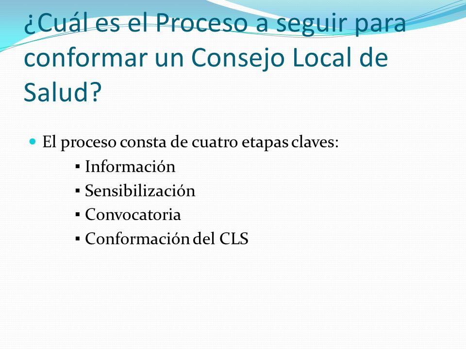 ¿Cuál es el Proceso a seguir para conformar un Consejo Local de Salud? El proceso consta de cuatro etapas claves: Información Sensibilización Convocat