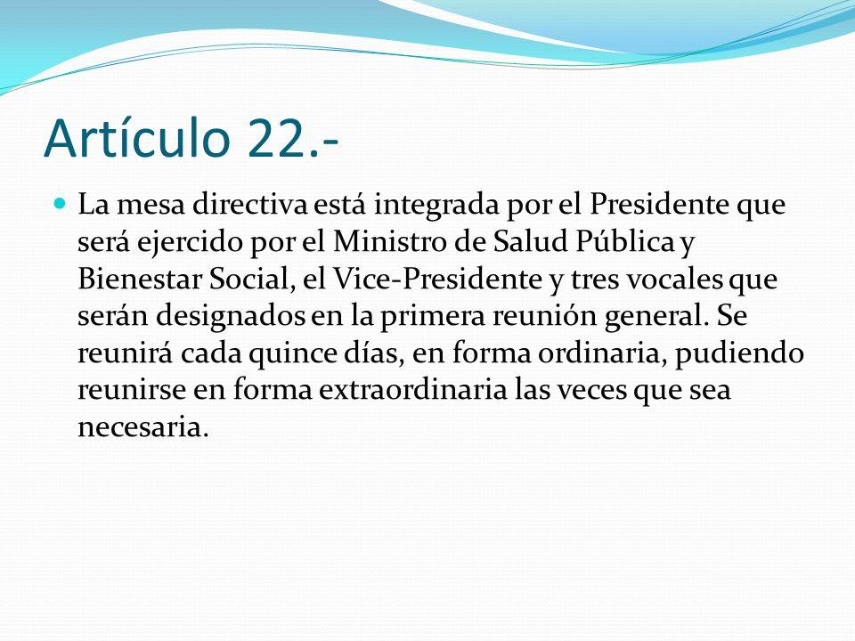 Artículo 22.- La mesa directiva está integrada por el Presidente que será ejercido por el Ministro de Salud Pública y Bienestar Social, el Vice-Presid
