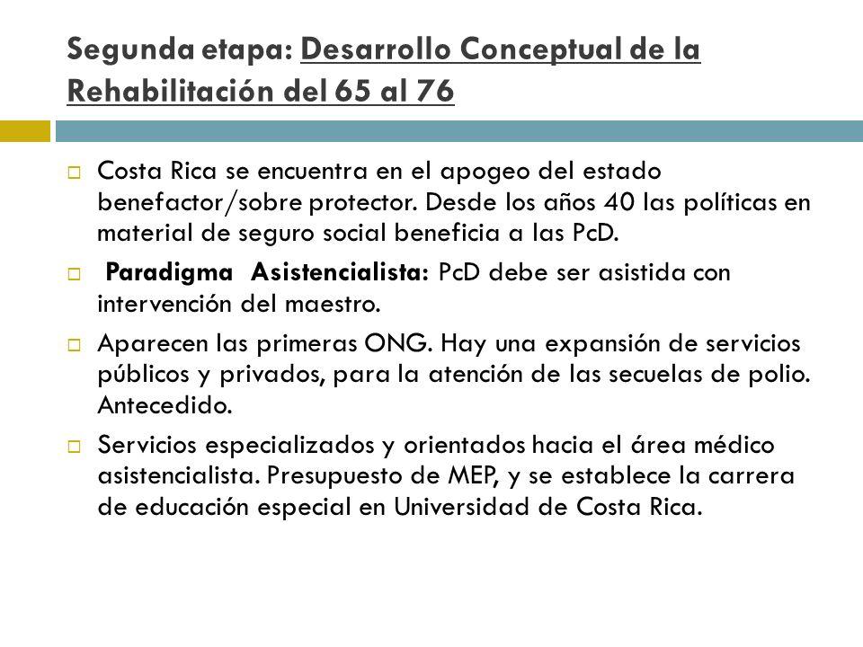 Segunda etapa: Desarrollo Conceptual de la Rehabilitación del 65 al 76 Costa Rica se encuentra en el apogeo del estado benefactor/sobre protector. Des