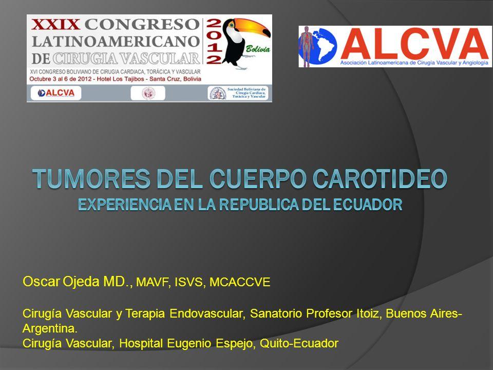 Oscar Ojeda MD., MAVF, ISVS, MCACCVE Cirugía Vascular y Terapia Endovascular, Sanatorio Profesor Itoiz, Buenos Aires- Argentina. Cirugía Vascular, Hos