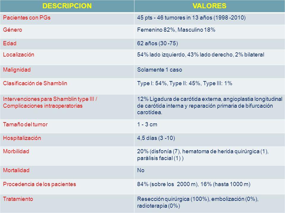 DESCRIPCIONVALORES Pacientes con PGs45 pts - 46 tumores in 13 años (1998 -2010) GéneroFemenino 82%, Masculino 18% Edad62 años (30 -75) Localización54%