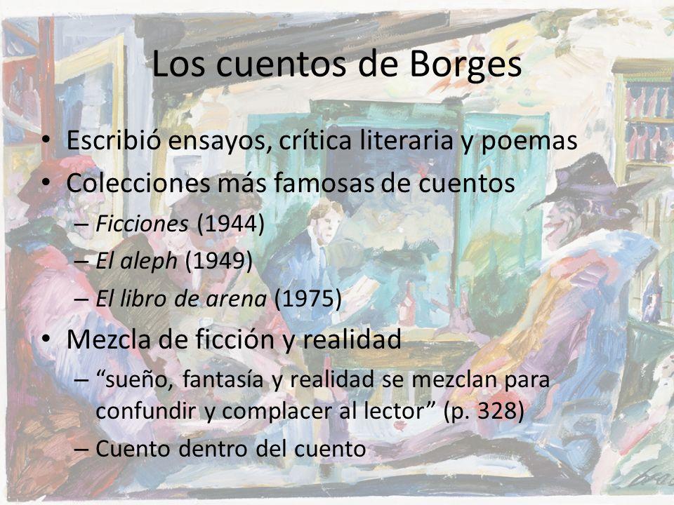 Los cuentos de Borges Escribió ensayos, crítica literaria y poemas Colecciones más famosas de cuentos – Ficciones (1944) – El aleph (1949) – El libro