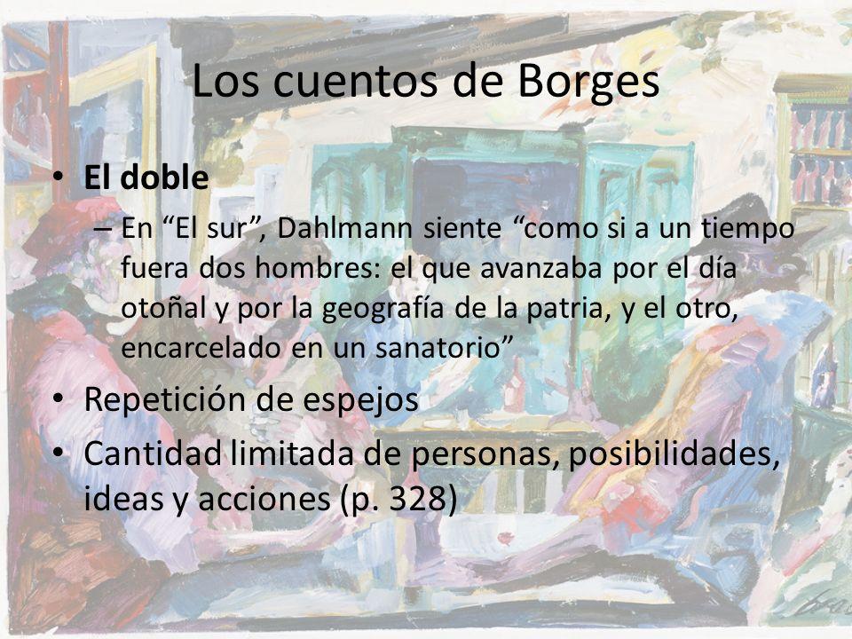 Los cuentos de Borges El doble – En El sur, Dahlmann siente como si a un tiempo fuera dos hombres: el que avanzaba por el día otoñal y por la geografí