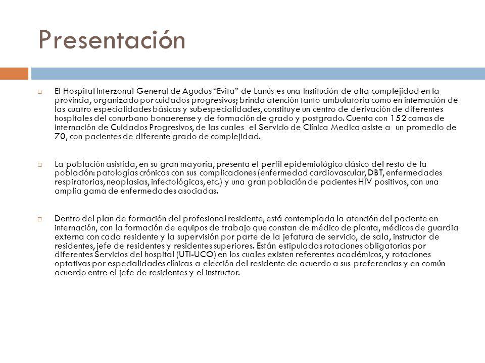 Recursos de Clínica Médica Consultorios Externos de Clínica Médica: Promedio de atención 550 pacientes/mes.