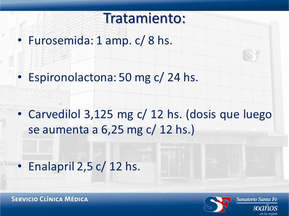 Tratamiento: Furosemida: 1 amp. c/ 8 hs. Espironolactona: 50 mg c/ 24 hs. Carvedilol 3,125 mg c/ 12 hs. (dosis que luego se aumenta a 6,25 mg c/ 12 hs