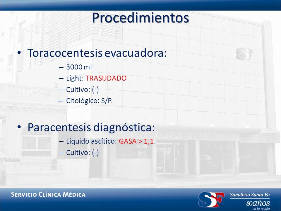 Procedimientos Toracocentesis evacuadora: – 3000 ml – Light: TRASUDADO – Cultivo: (-) – Citológico: S/P. Paracentesis diagnóstica: – Líquido ascítico: