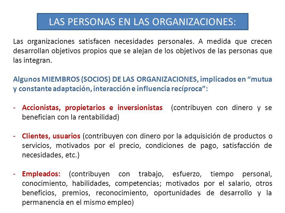 LAS PERSONAS EN LAS ORGANIZACIONES: Las organizaciones satisfacen necesidades personales. A medida que crecen desarrollan objetivos propios que se ale