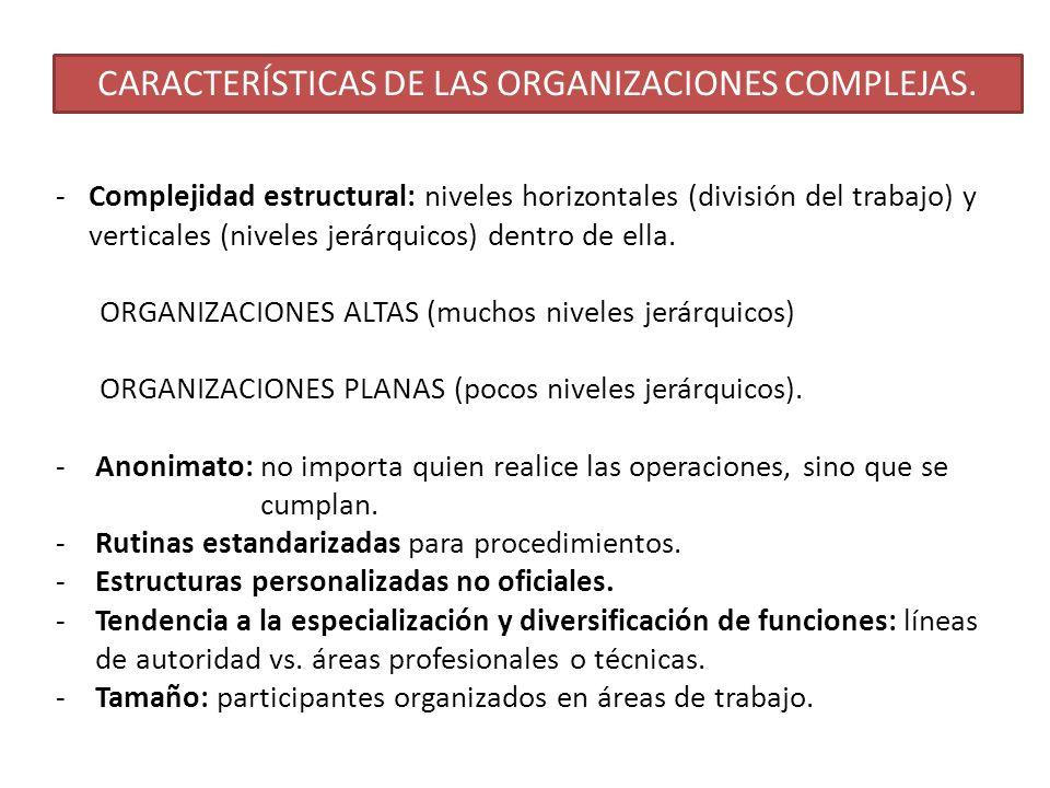 CARACTERÍSTICAS DE LAS ORGANIZACIONES COMPLEJAS. -Complejidad estructural: niveles horizontales (división del trabajo) y verticales (niveles jerárquic