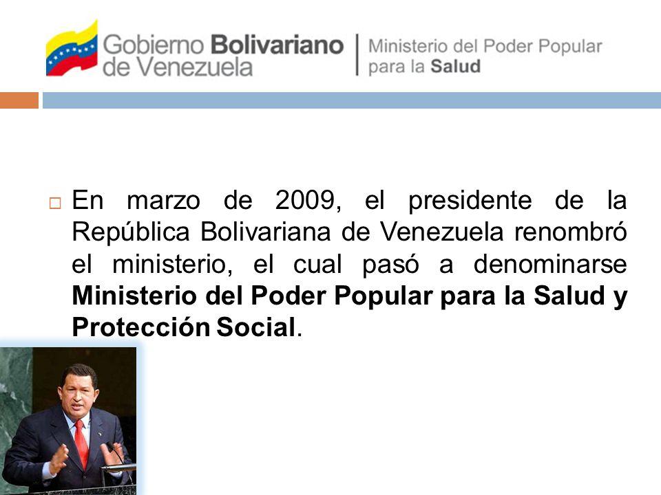 En marzo de 2009, el presidente de la República Bolivariana de Venezuela renombró el ministerio, el cual pasó a denominarse Ministerio del Poder Popul