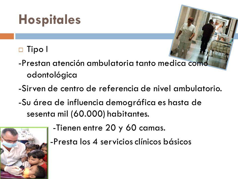Hospitales Tipo I -Prestan atención ambulatoria tanto medica como odontológica -Sirven de centro de referencia de nivel ambulatorio. -Su área de influ