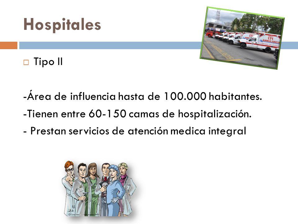 Hospitales Tipo II -Área de influencia hasta de 100.000 habitantes. -Tienen entre 60-150 camas de hospitalización. - Prestan servicios de atención med