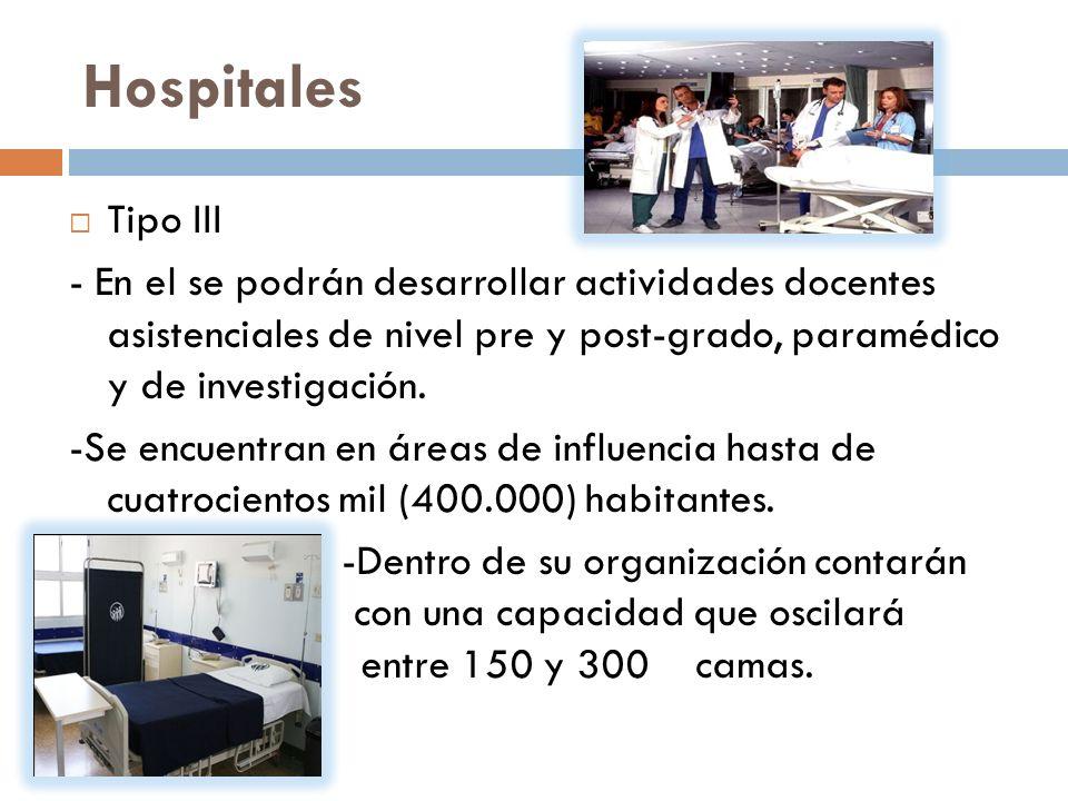 Hospitales Tipo III - En el se podrán desarrollar actividades docentes asistenciales de nivel pre y post-grado, paramédico y de investigación.