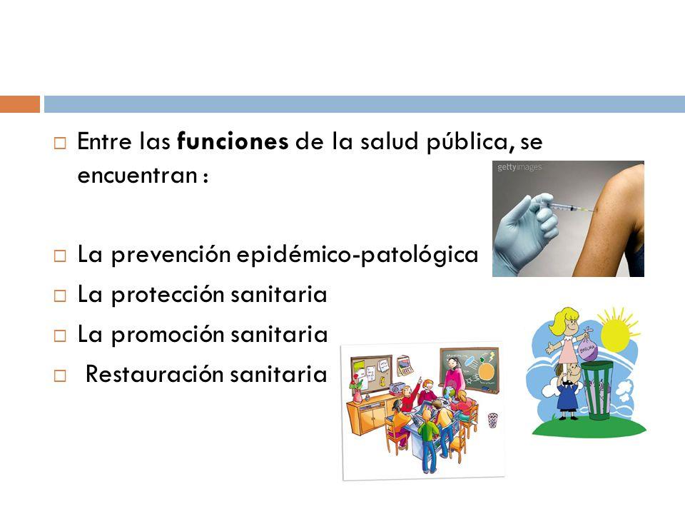 Entre las funciones de la salud pública, se encuentran : La prevención epidémico-patológica La protección sanitaria La promoción sanitaria Restauración sanitaria