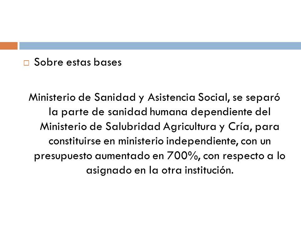Sobre estas bases Ministerio de Sanidad y Asistencia Social, se separó la parte de sanidad humana dependiente del Ministerio de Salubridad Agricultura
