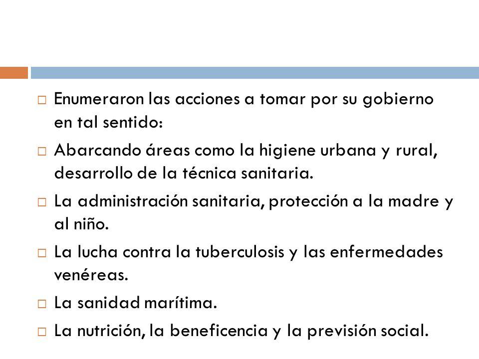 Allí ejercieron cargos directivos: Área tuberculosis Áreas materno - infantil Área paludismo Área de lepra Área de administración hospitalaria Área parasitosis Área estudios estadísticos y epidemiológicos Personal formado en instituciones : Instituto Nacional de Higiene La Escuela Nacional de Enfermería