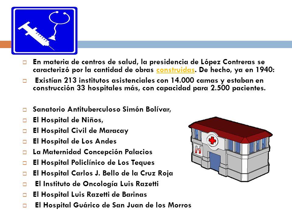 En materia de centros de salud, la presidencia de López Contreras se caracterizó por la cantidad de obras construidas. De hecho, ya en 1940: Existían