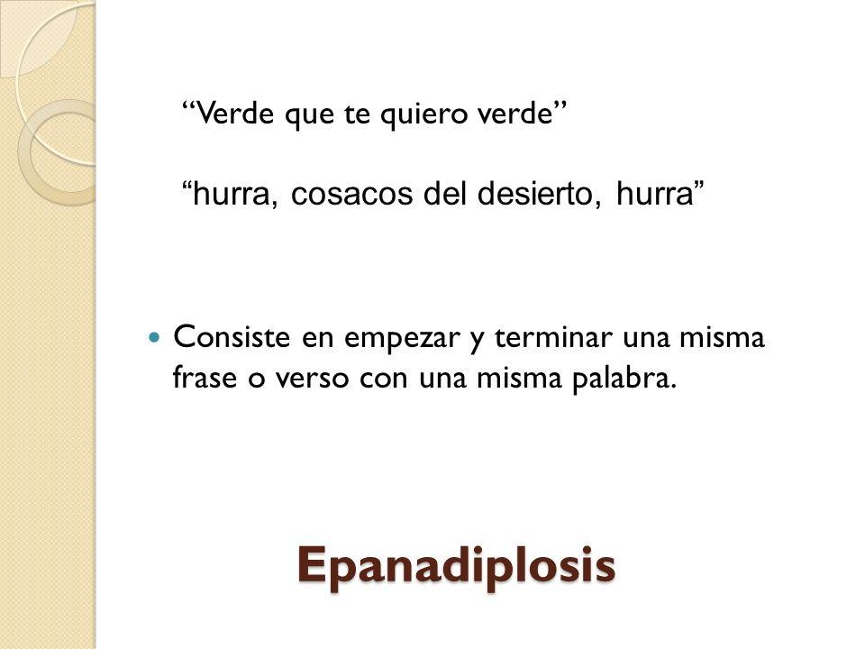 Conduplicación/anadiplosis (Repetición en serie de palabras que terminan en un verso y comienzan en el próximo. Duplicación de términos encadenados. T