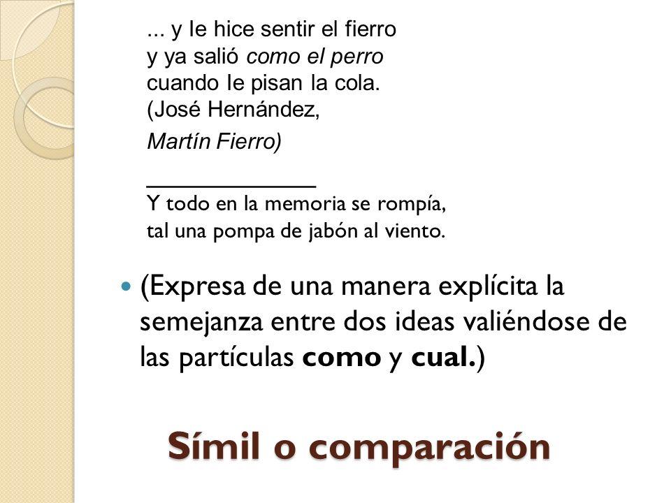 Símil o comparación (Expresa de una manera explícita la semejanza entre dos ideas valiéndose de las partículas como y cual.)...