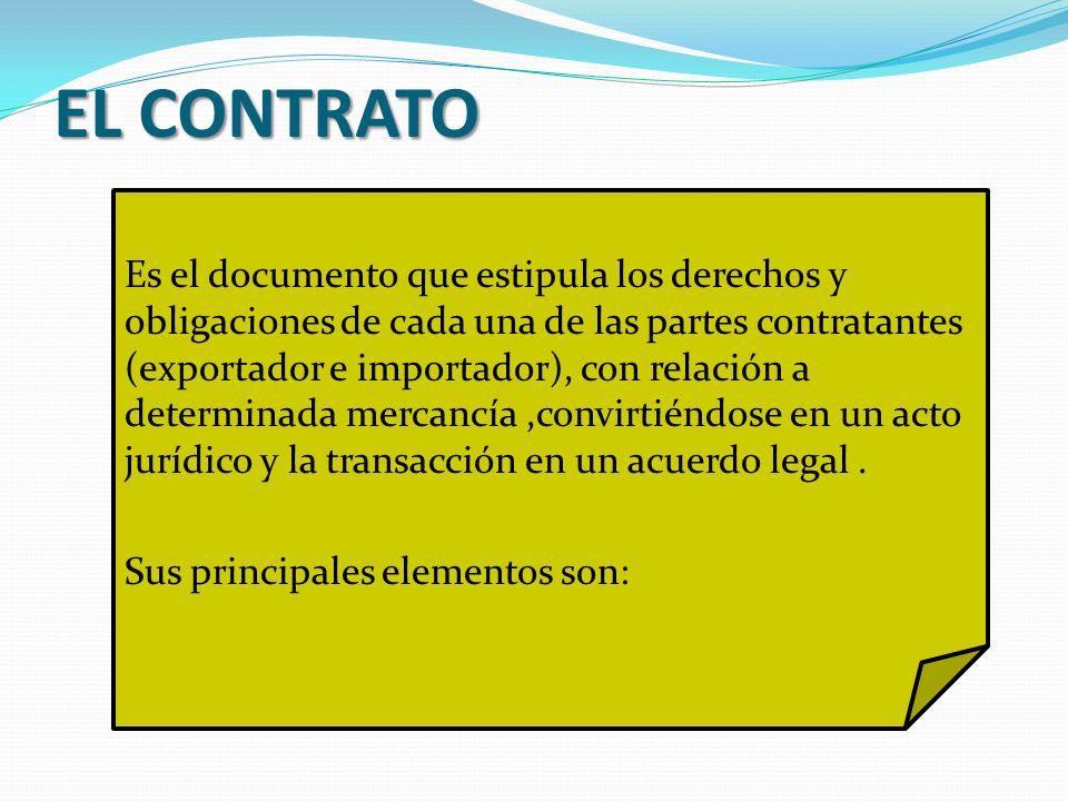 EL CONTRATO Es el documento que estipula los derechos y obligaciones de cada una de las partes contratantes (exportador e importador), con relación a