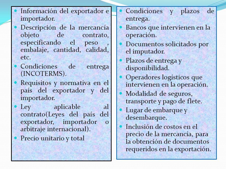 Información del exportador e importador. Descripción de la mercancía objeto de contrato, especificando el peso, embalaje, cantidad, calidad, etc. Cond