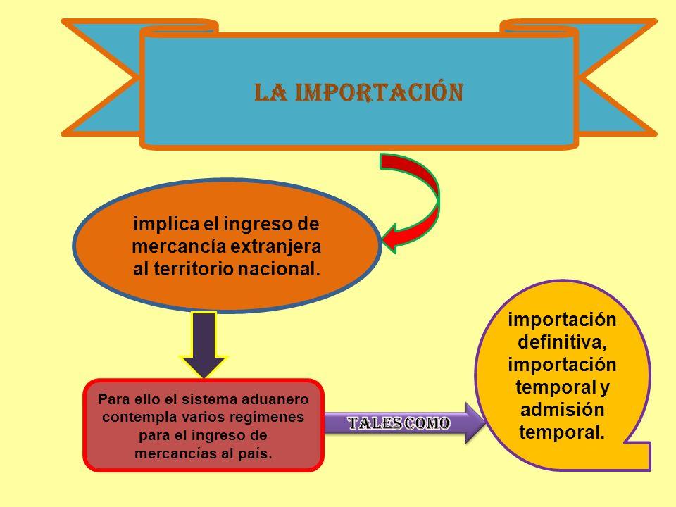 La importación implica el ingreso de mercancía extranjera al territorio nacional. Para ello el sistema aduanero contempla varios regímenes para el ing