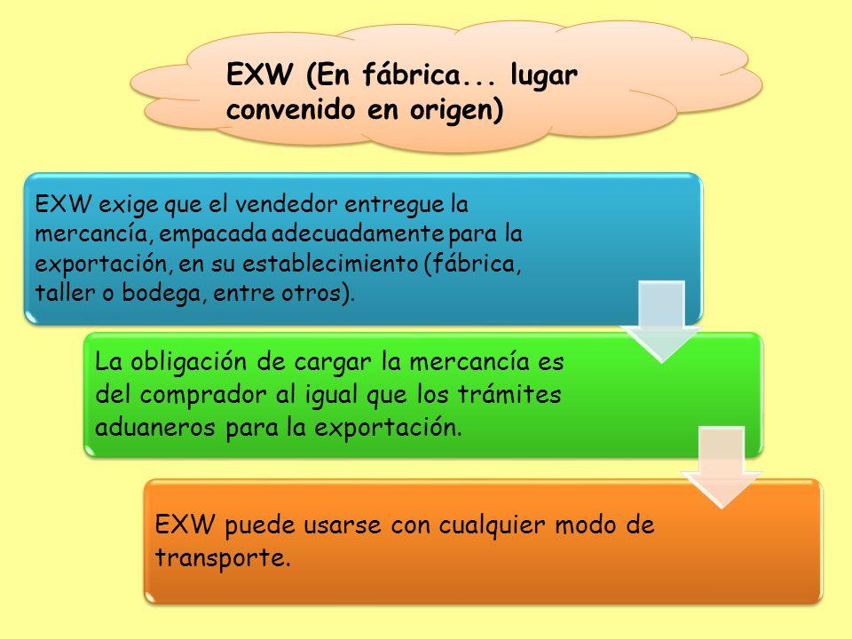 EXW exige que el vendedor entregue la mercancía, empacada adecuadamente para la exportación, en su establecimiento (fábrica, taller o bodega, entre ot