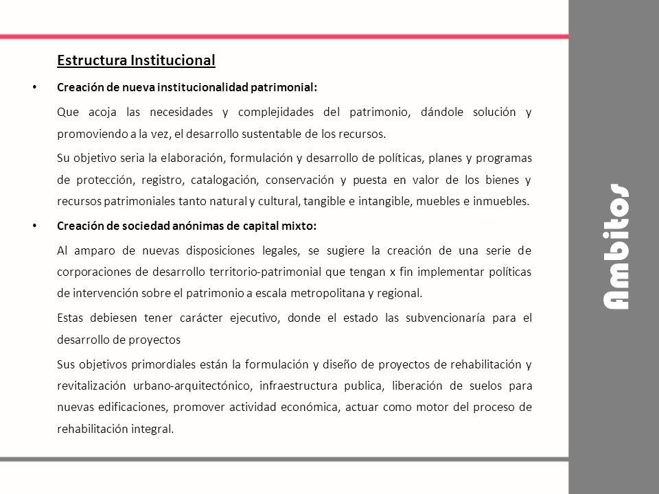Estructura Institucional Creación de nueva institucionalidad patrimonial: Que acoja las necesidades y complejidades del patrimonio, dándole solución y promoviendo a la vez, el desarrollo sustentable de los recursos.