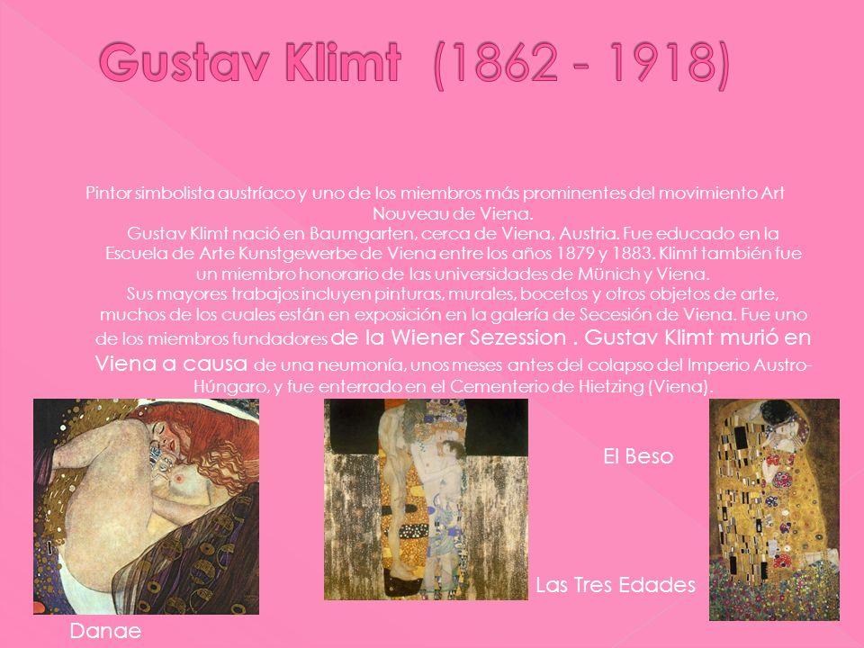 Pintor simbolista austríaco y uno de los miembros más prominentes del movimiento Art Nouveau de Viena. Gustav Klimt nació en Baumgarten, cerca de Vien