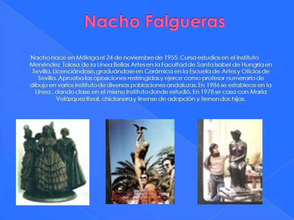 Nacho nace en Málaga el 24 de noviembre de 1955. Cursa estudios en el Instituto Menéndez Tolosa de la Línea Bellas Artes en la Facultad de Santa Isabe